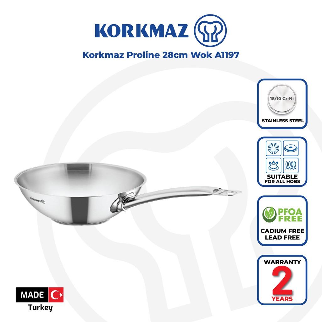 Korkmaz Proline 18/10 Cr-Ni Stainless Steel Frying Pan / Wok (28x8.5 cm) A1197 - Made in Turkey