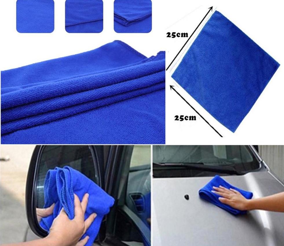Soft Absorbent Wash Cloth Car Auto Care Microfiber Cleaning Blue Towels (20cm x 20cm)