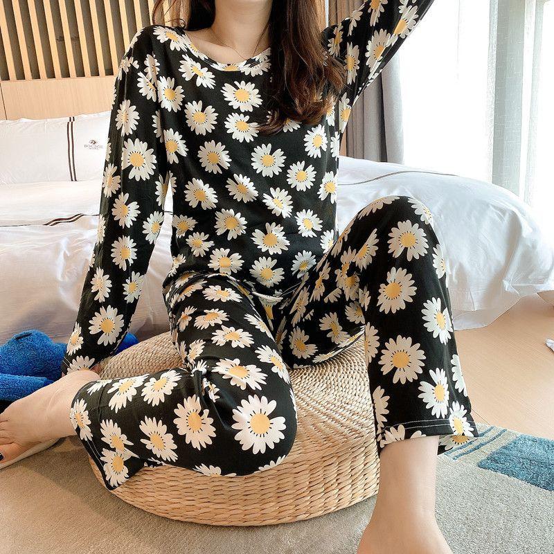 shopee: Women Pyjamas women Pajamas ladies pyjamas baju tidur perempuan women t shirt t perempuan lingerie nightwear (0:9:Color:W-Flower Black;1:3:Size:2XL)