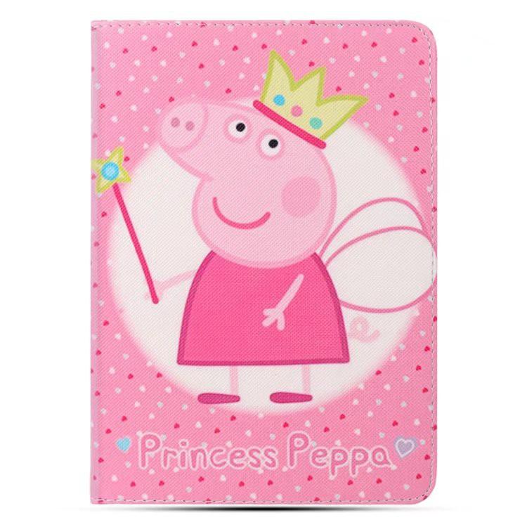 New Fast Sleep Wake up Cute Peppa Pig Pattern PU Leather case For iPad air  1 2