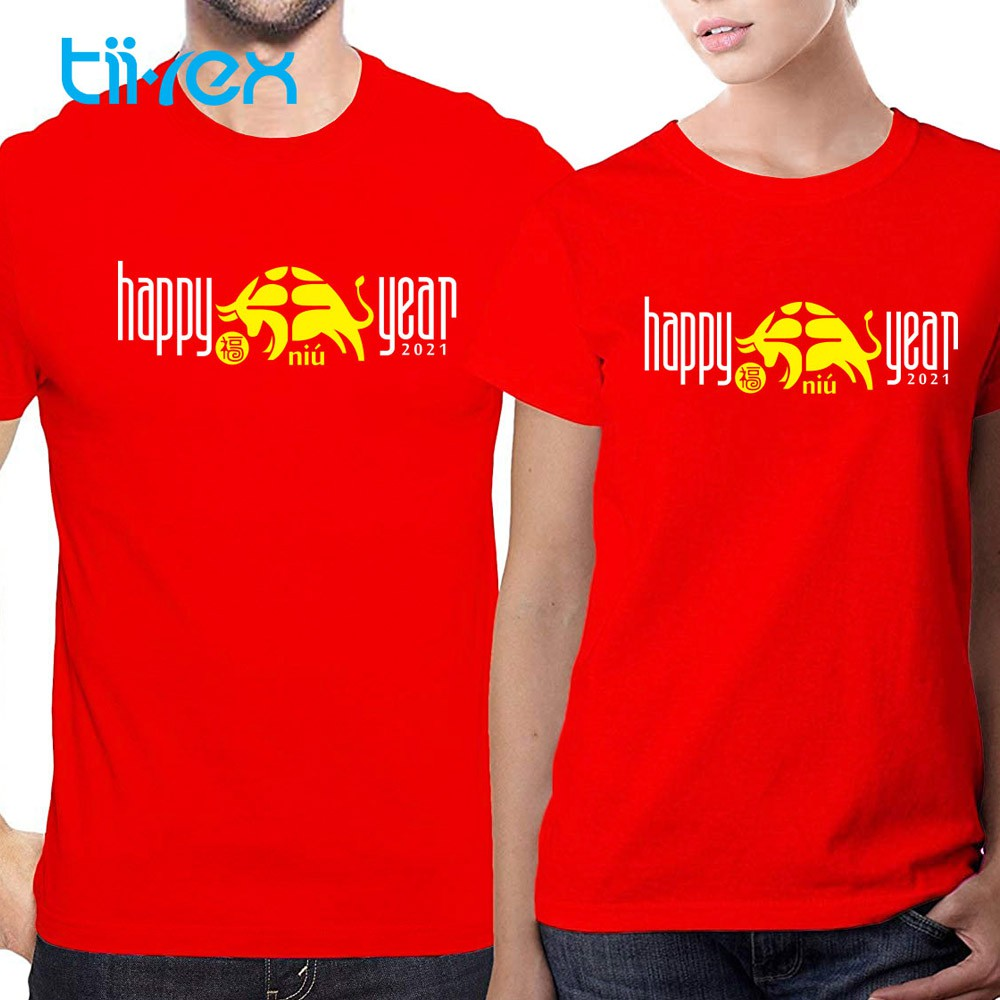 Ox Year Happy Chinese New Year 2021 Unisex Round Neck Short Sleeve Red Cotton TShirt