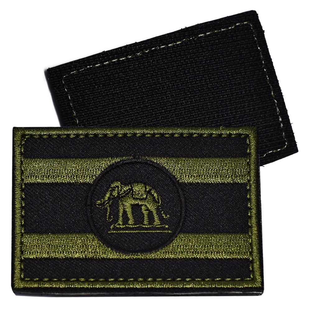 อาร์มธงราชนาวี สีเขียวขี้ม้า เขียวทหาร หลังตีนต