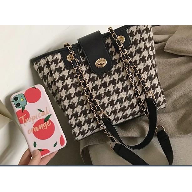 Fabric PU Leather Shoulder Bag Sling Bag Tote Handbag
