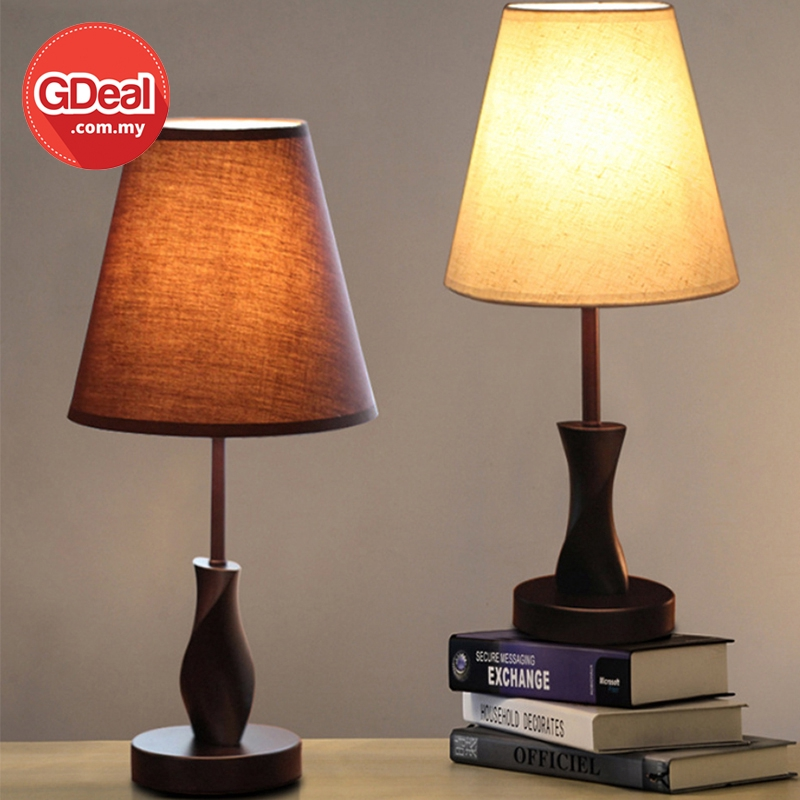 GDeal Side Table Wooden Fabric Lamp Bedroom Decorative With Soft Lighting Brightness