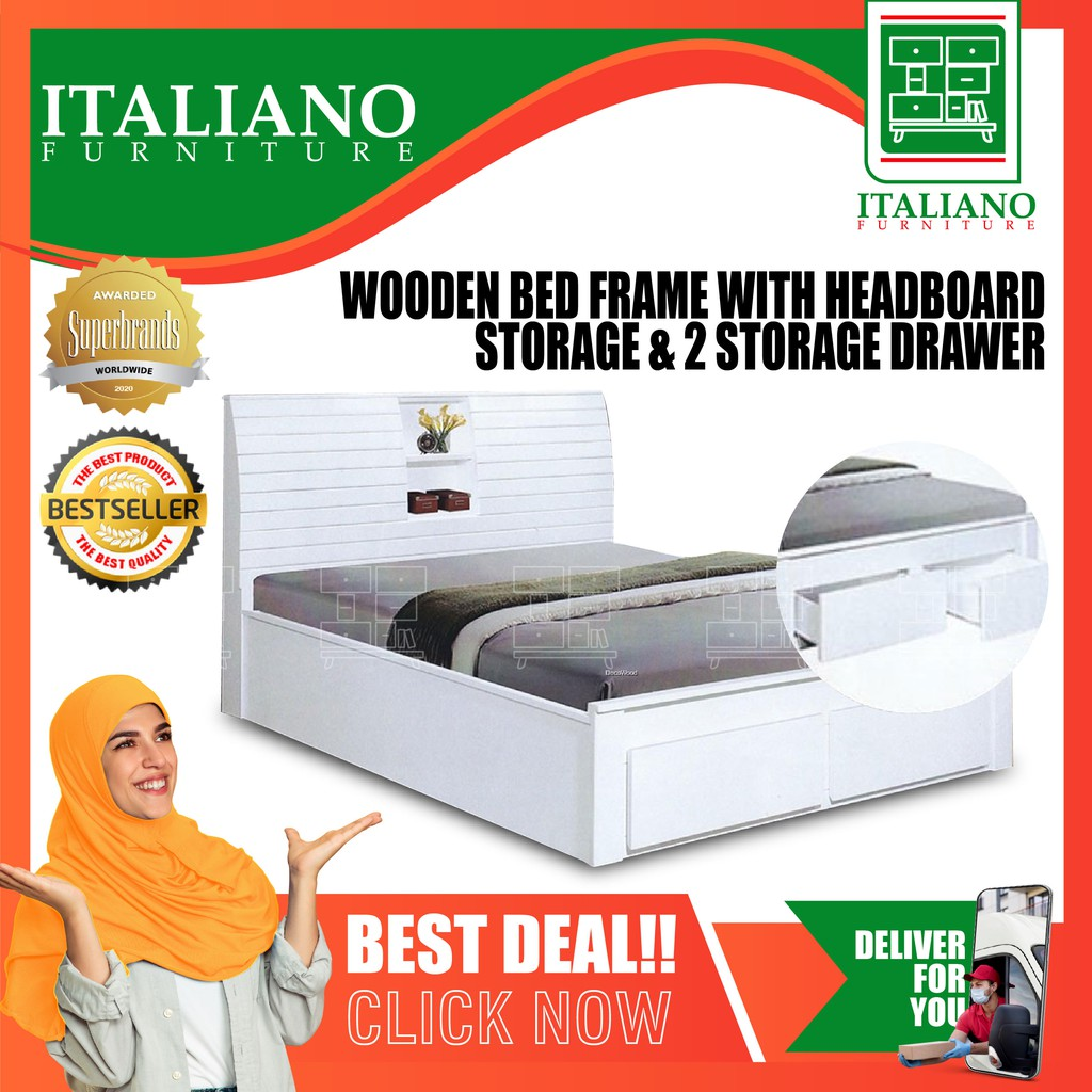 Solid Wood Queen Size Wooden Bed Frame With Headboard Storage 2 Storage Drawer Shopee Malaysia