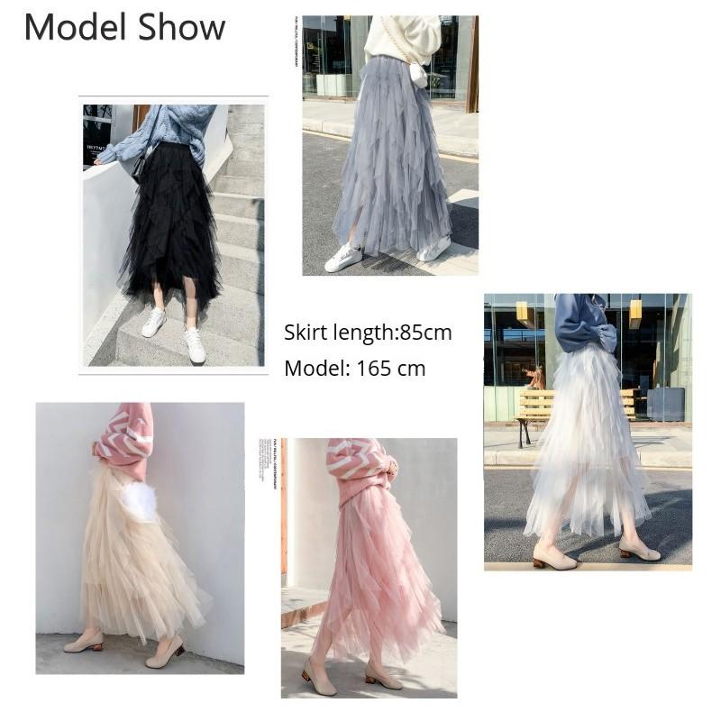 60124524cb5e1 Elastic High Waist Ruffle Layers Irregular Tiered Mesh Long Skirts
