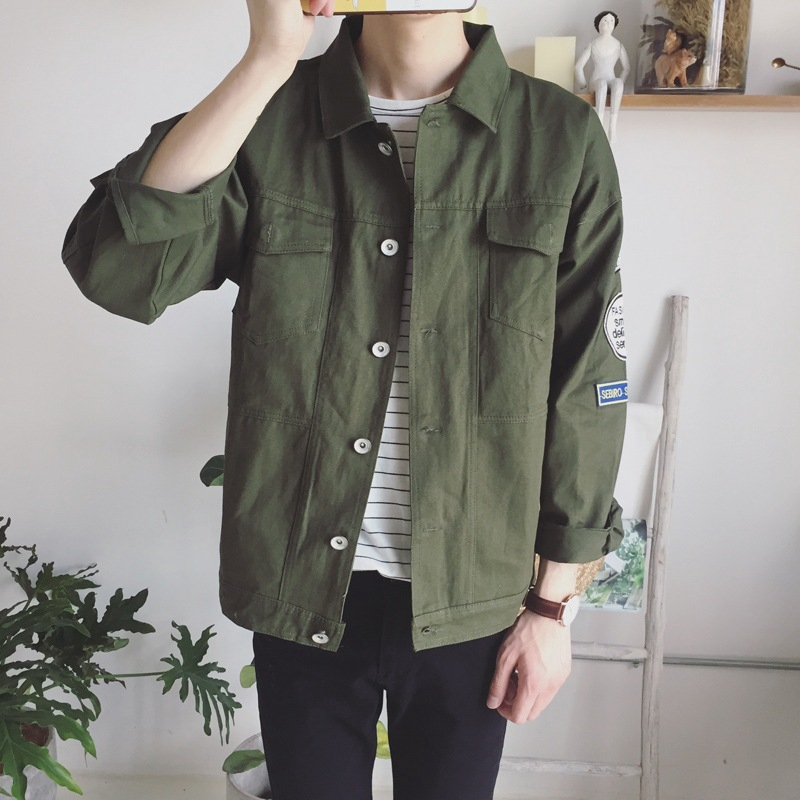 ready stock Denim Jacket Male Loose Korean Version of the Trend of Men's Student Fashion Jacket Denim Shirt Coat