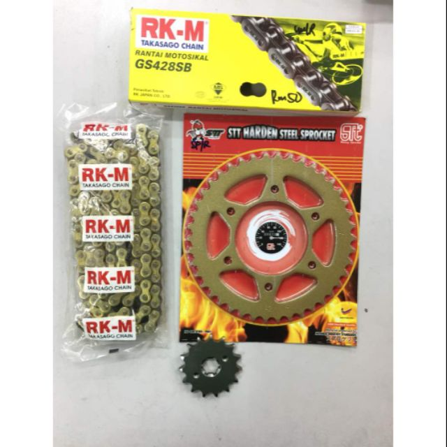 Rapido RS150r GOLD RACING chain & sprocket set 428 124L ( 15/42
