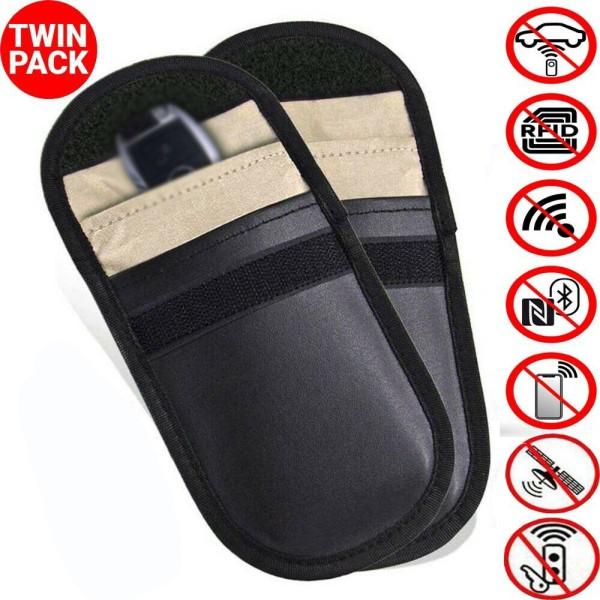 2x PU Leather Car Key Signal Blocker Case Faraday Cage Pouch Keyless Rfid Bag UK
