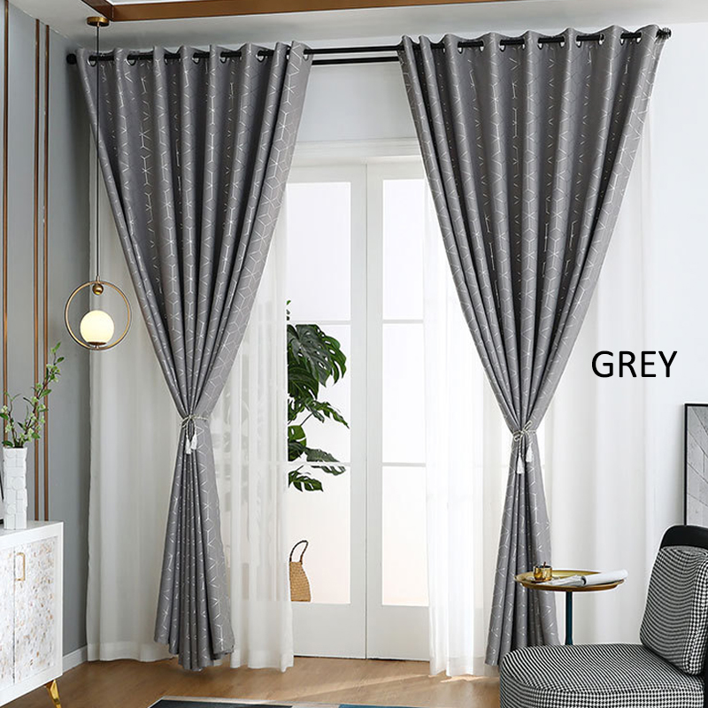 GDeal Simple Geometric Design Thick Curtains Woven Fabric Bedroom Living Room Blackout Curtain Langsir (120CM x 160CM)