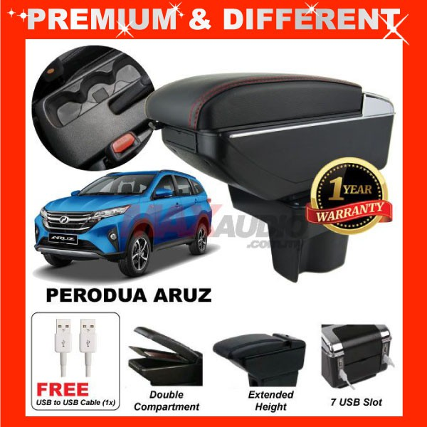 [FREE GIFT Gift] PERODUA ARUZ COMFORT ADJUSTABLE ARMREST 7 PORT USB & Cup Holder