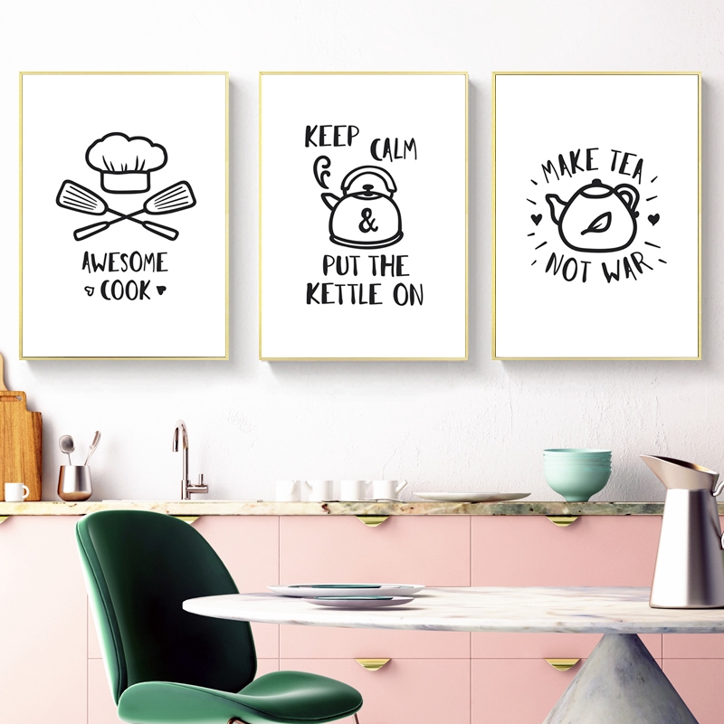 Nordic Black White Minimalism Funny Kitchen Quote Canvas Paintings Dining Room Poster And Prints Decoration Home Decor
