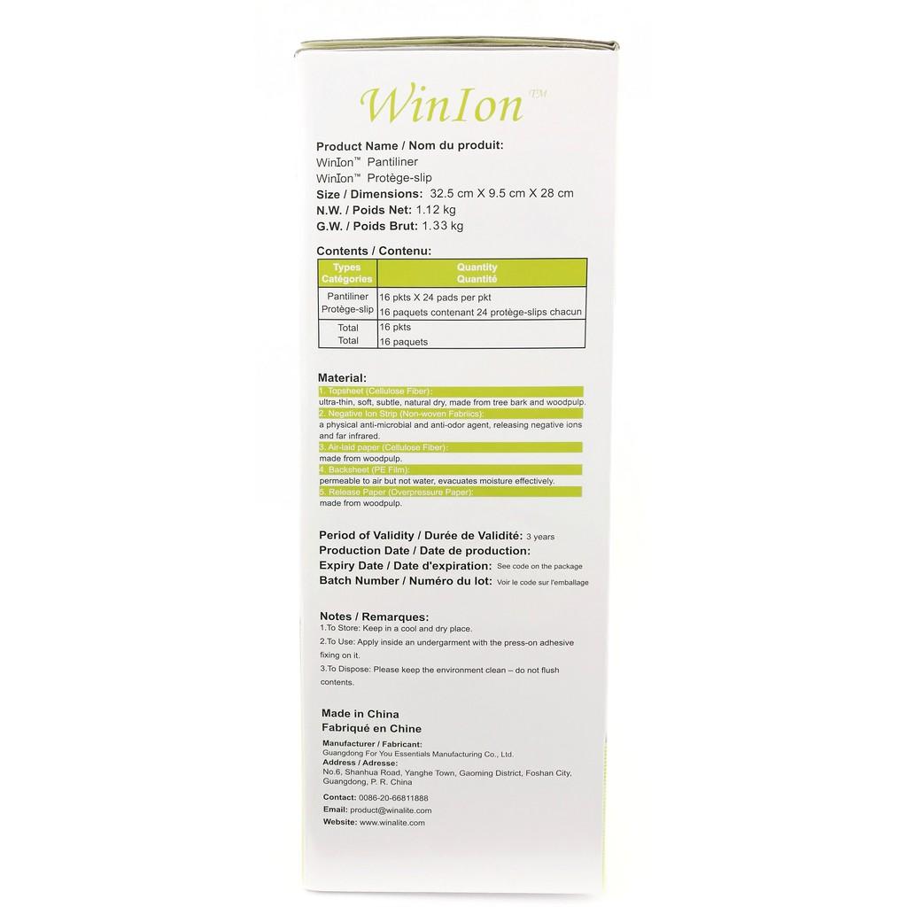 [Genuine] Winalite Winion Sanitary Napkin PANTYLINER Box with Anion Stripe (384 pcs) 月月爱 [FREE Bag]