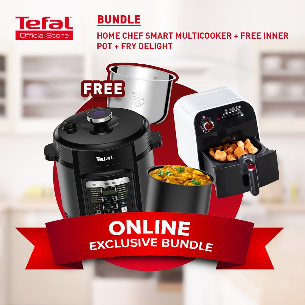 Online Exclusive Bundle Tefal Home Chef Smart Multicooker Pressure Cooker Cy601d Tefal Fry Delight Meca Fx1000 Shopee Malaysia