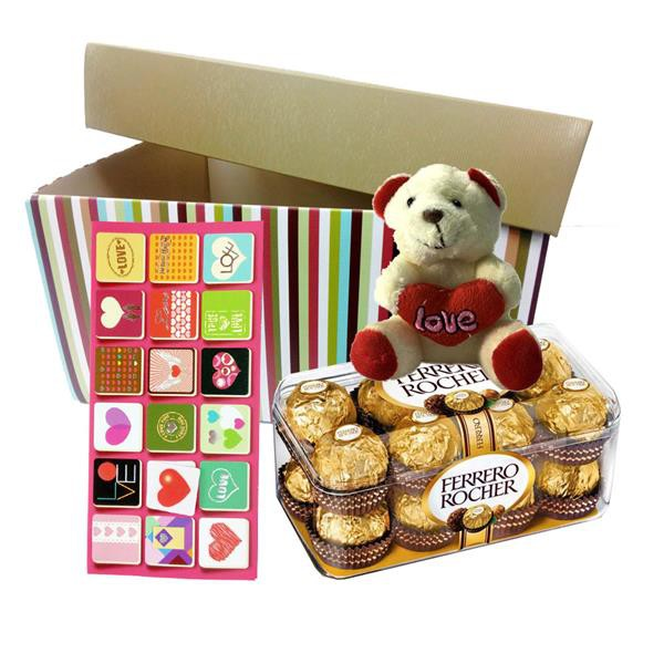 Valentine's Day Ferrero Rocher Chocolate 16pc & Bear with Gift Box