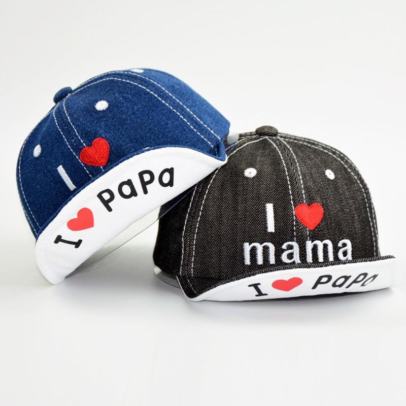 Kids I Love Dad Printed Baseball Cap Hat Adjustable Mesh Trucker Hats for Boys Girls