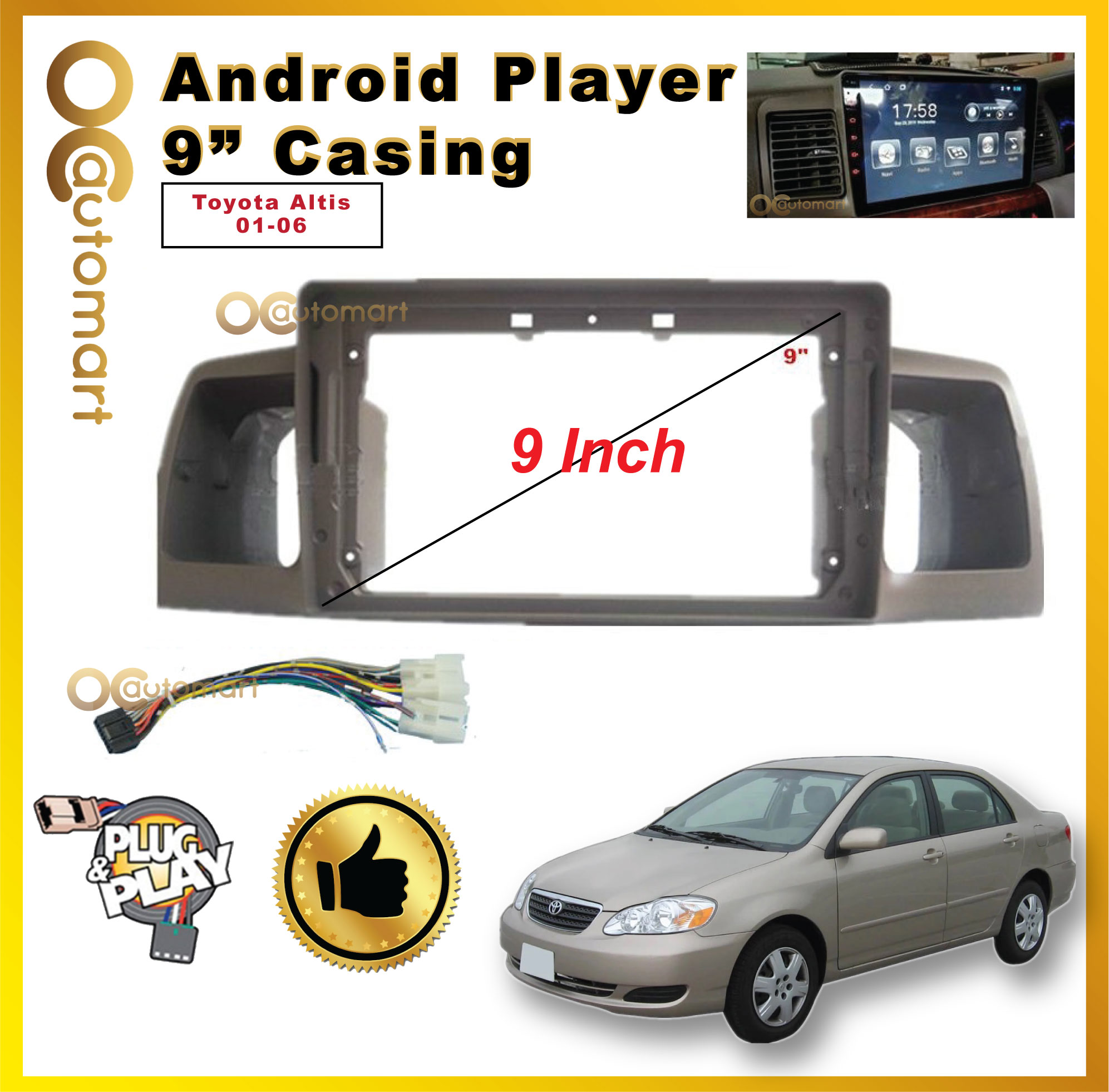 """TOYOTA ALTIS 2001-2006 9"""" ANDROID CASING WITH SOCKET"""