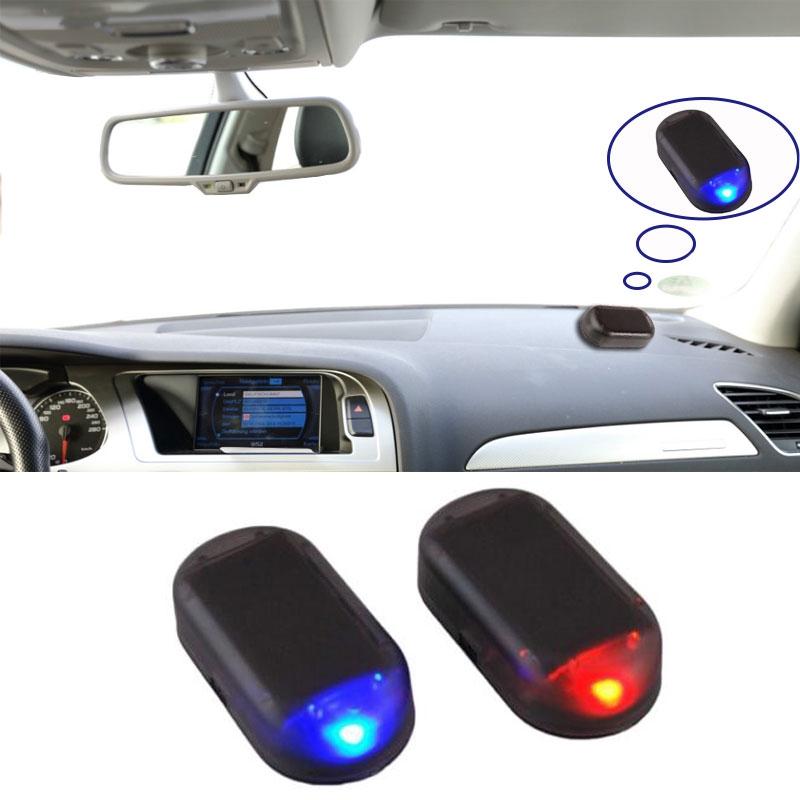 Red Wireless Car Solar Powered Simulated Dummy Alarm Warning Anti-Theft Caution Lamp LED Flashing Security Light