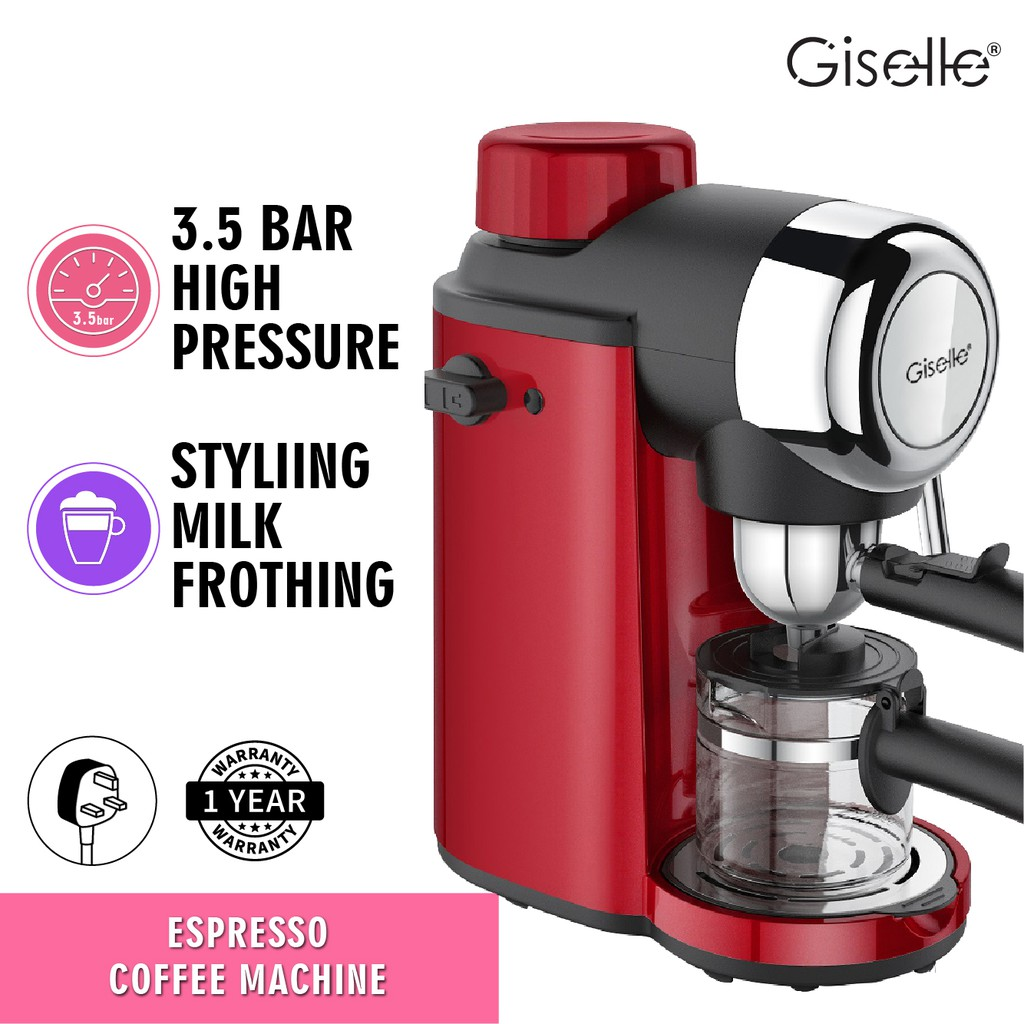 Giselle Espresso Coffee Milk Bubble Maker Machine 800W (KEA0330RD)