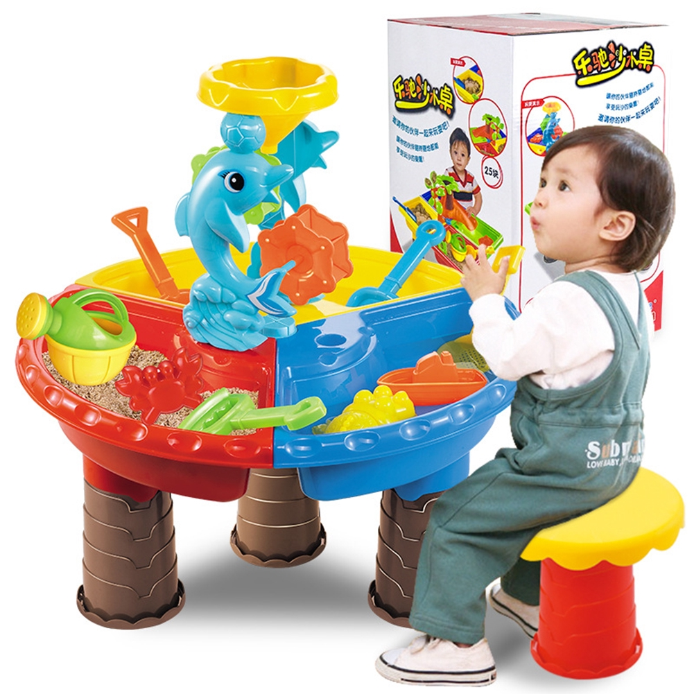 Play Sand Toys 1 Set Children Beach Table Sand Play Toys Set Baby Water Sand Dredging Tools Color Random Beach Table【9828-color Box】