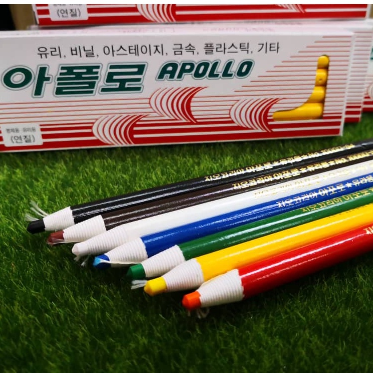 Apollo Dermatograph Oil-Based Pencils / Glass Pencil / Wax Grease Marker / Peal Off Crayon For Metal Glass Fabric  @ 1pc