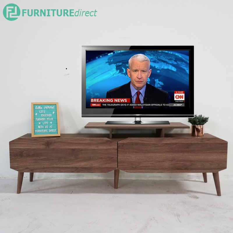 Furniture direct MAJA 6 feet Tv cabinet with 2 drawer with solid wood legs/ ikea rak/ walnut color/ unique design