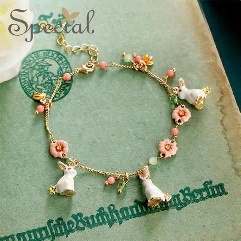 Girly Heart Sakura Pink Rabbit Fairy Bracelet  少女心樱花粉兔子小仙手链