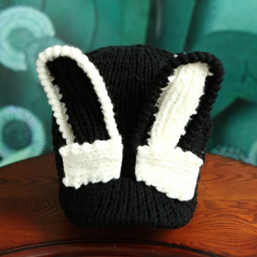Cute Rabbit Ear Shape Decorated Knitted Baseball Cap For Women