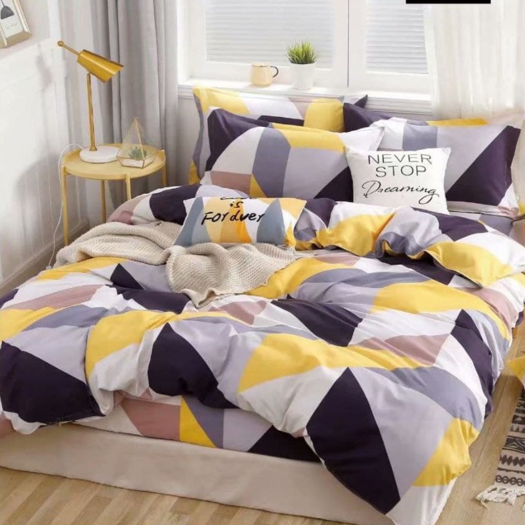 HOMEY 4 in 1 Queen Fitted Cotton Bedsheet/ 2 in 1 Single Size Fitted Bedsheet Cadar Patchwork (Guaranteed Satisfactory)