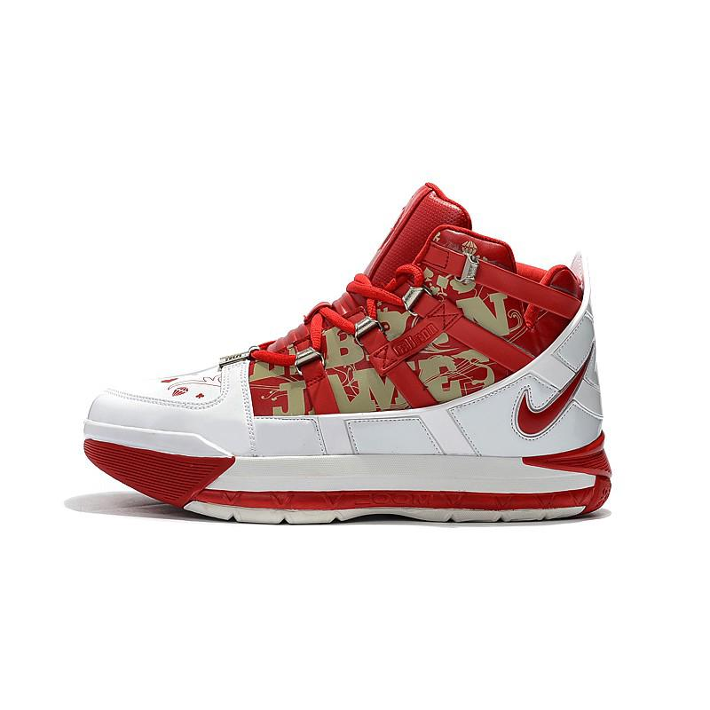 newest 0054d abf6e Nike Lebron James 3 III Retro Basketball Men Shoes Red White ...