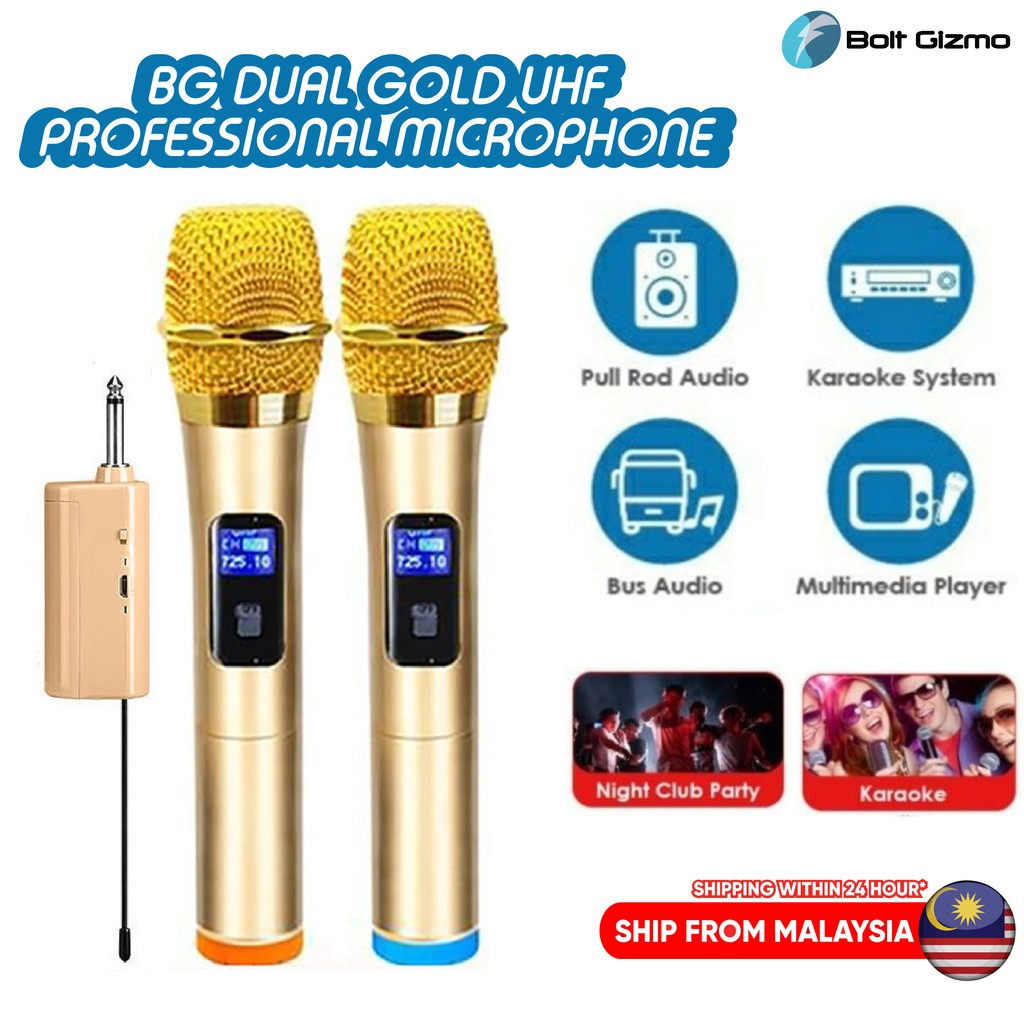 BG DUAL GOLD UHF MIC Professional Dual Wireless Microphone with Rechargeable Receiver 6.3mm System Karaoke Mic Speaker