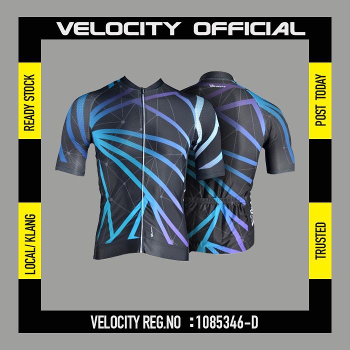 [READY STOCK]Velocity Men Short Cycling Jersey-Black Abstract