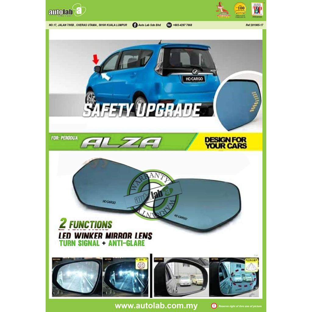 Side Mirror Lens with LED Indicator - Perodua Alza
