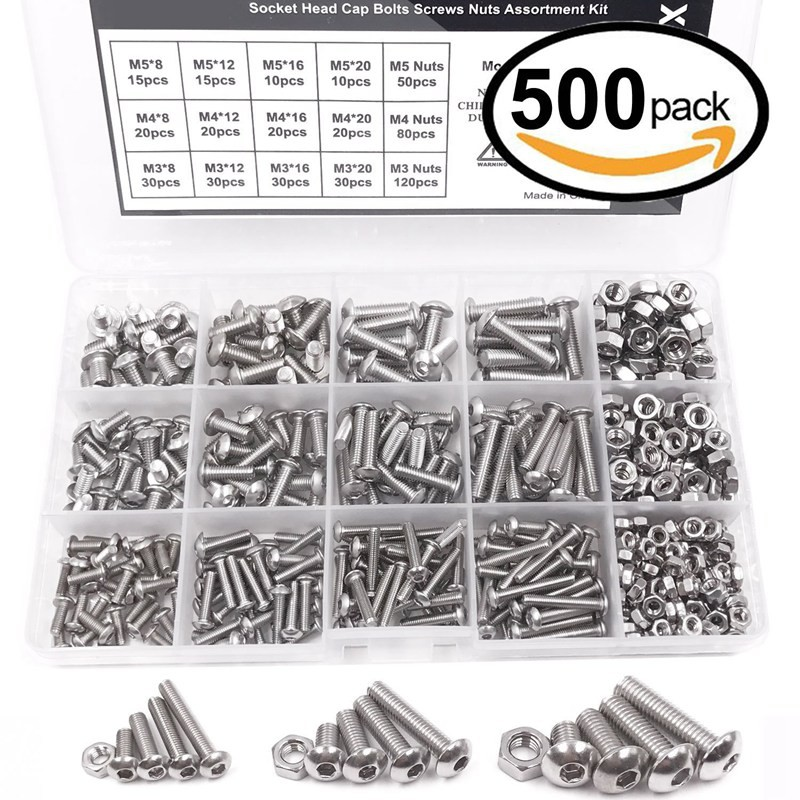 500pcs M3 M4 M5 A2 Stainless Steel Bolts Screws Nuts Assortment Kit