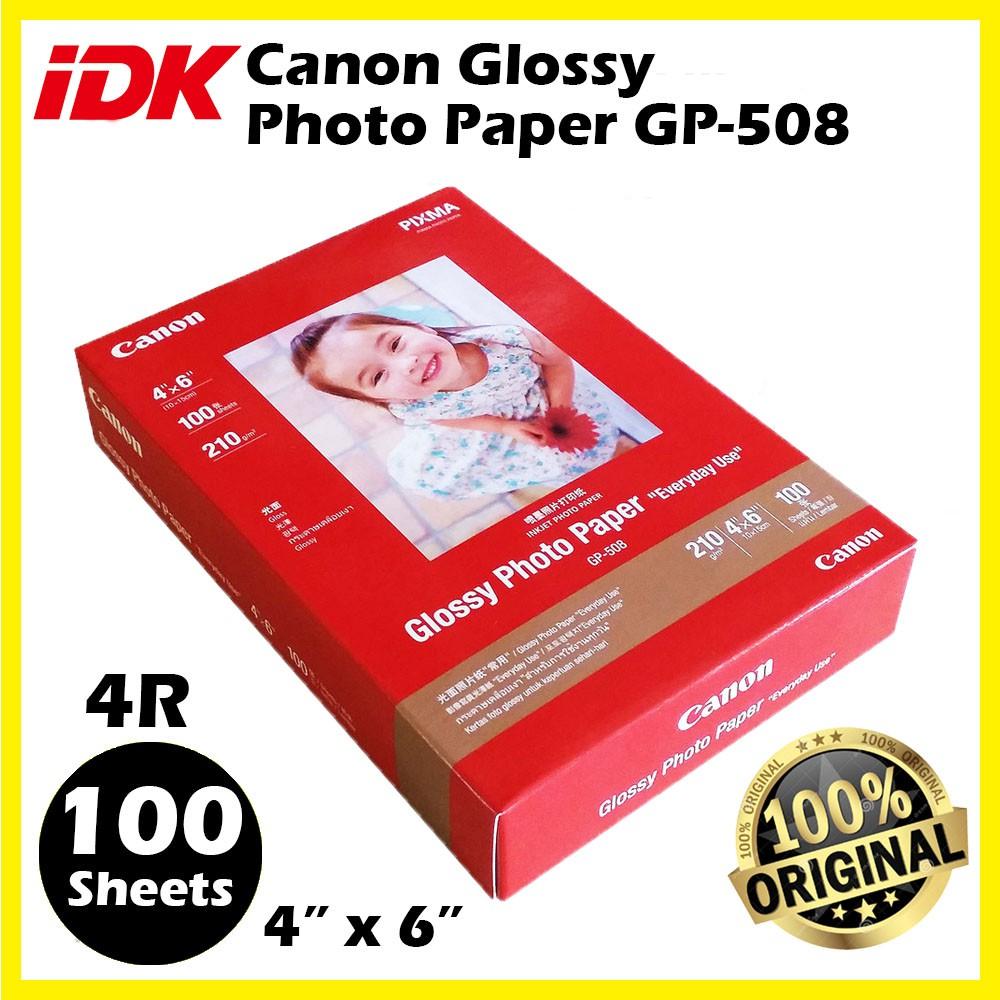 4R Canon Glossy Photo Paper GP-508 ( Original ) 210g 100 sheets 4' x 6' 4R