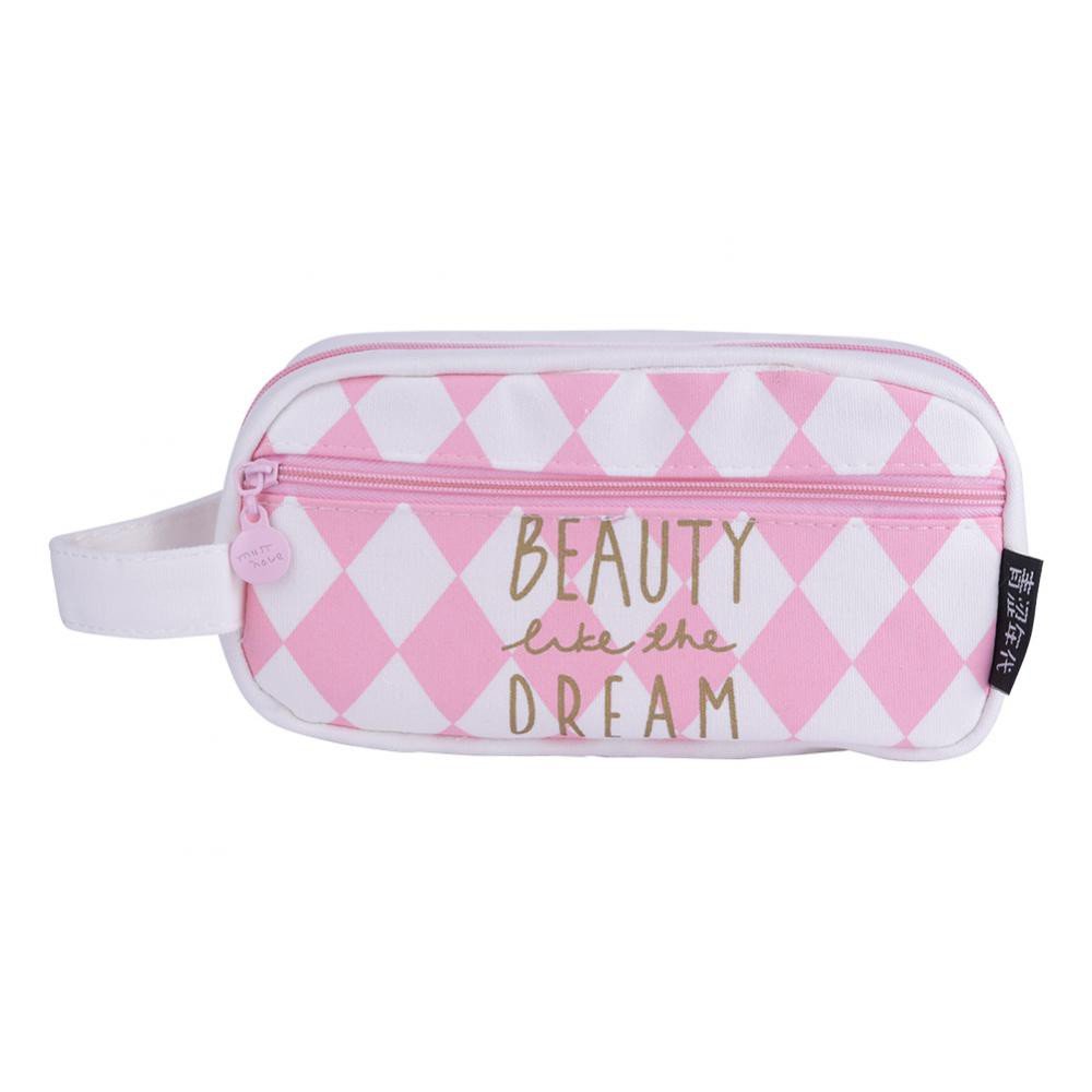 6545442d31b1 Canvas Pencil Case Large Capacity Pen Box Stationery Pouch Makeup Cosmetic  Bag