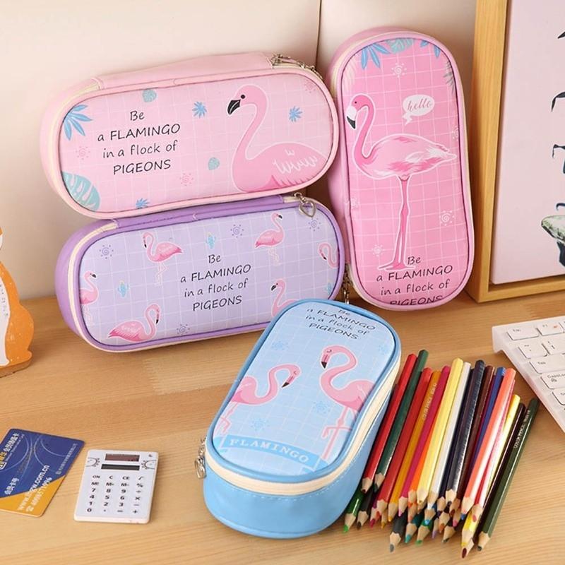 57082a664f11 Cartoon Flamingo Pu Pencil Case Stationery Kids School Pencil Cases Boys  Girls Pencil Case