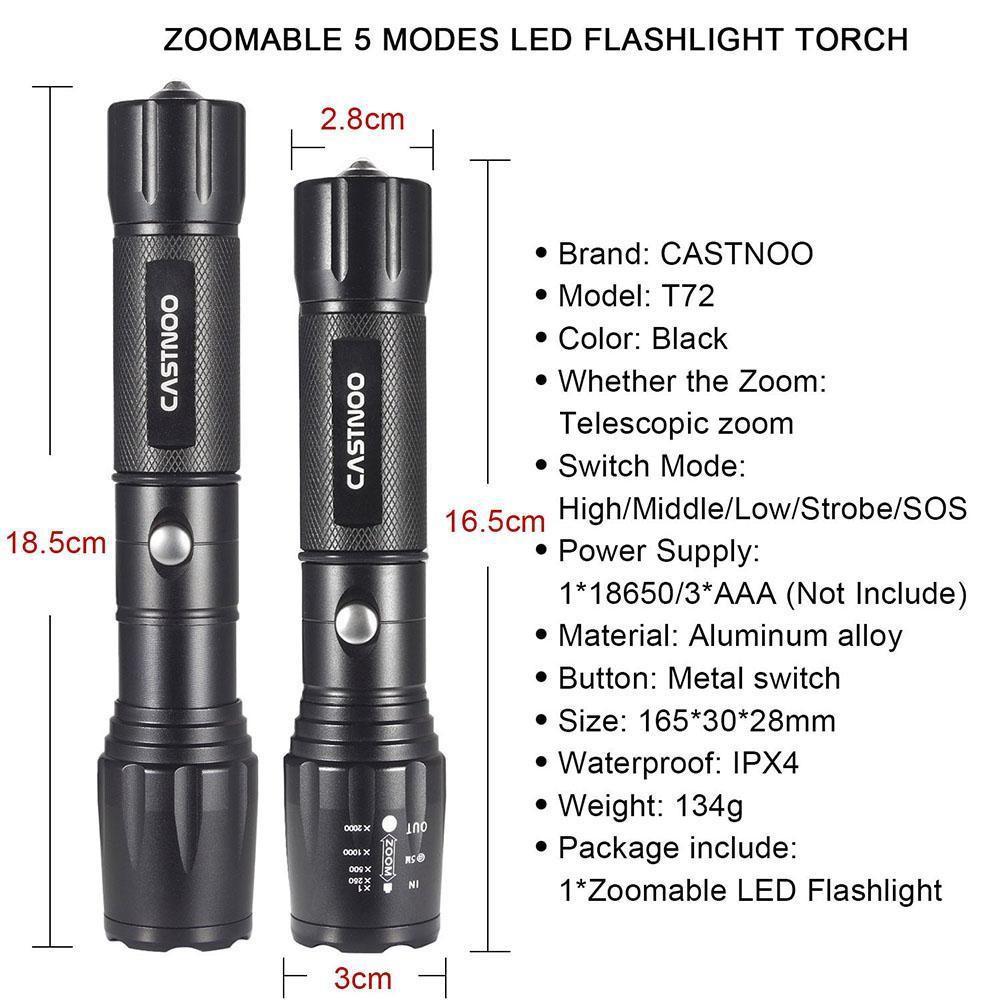 Black Castnoo 5 Modes 8000 LM  X-XML T6 LED Rechargeable zoomable torch  JG