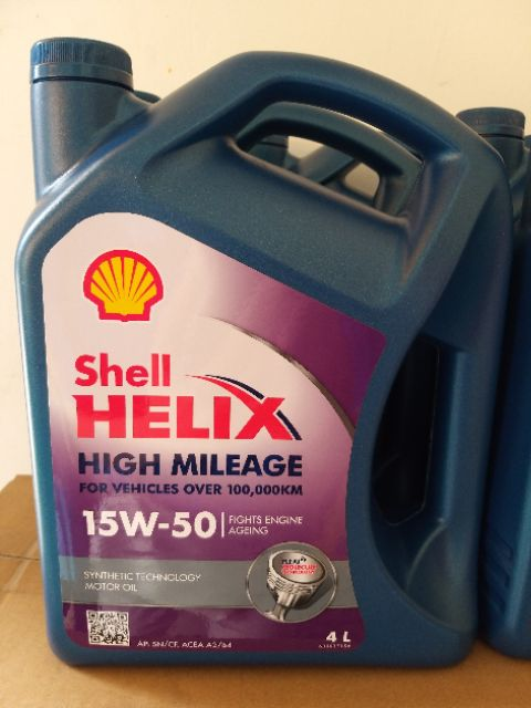 Shell Helix High Mileage Semi-synthetic 15W-50 Engine Oil 4L +