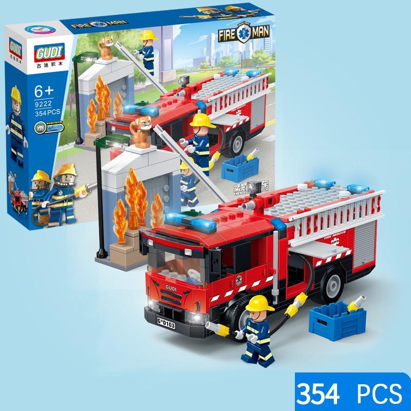319pcs Fire Fighter Lego Building Bricks Set Emergency response Fireman Toy 6+