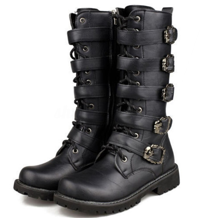 online shop fashion cheap for sale New Punk Rock MENS BLACK GOTH PUNK ROCK BAND BUCKLE BOOTS | Shopee ...