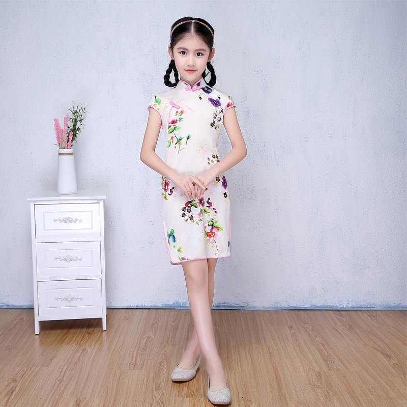 Large Size Cute Chinese Style Cheongsam Girl Floral Print Dress Kids Clothing