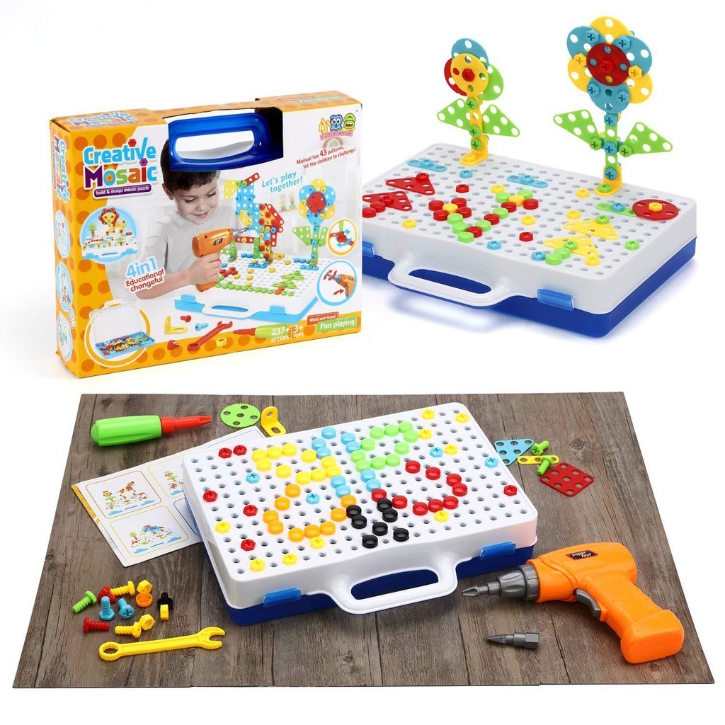 Drill Design Puzzle Creative Toys - Electric Drill Screwdriver Play Tool Building 2D 3D Models Blocks Assembly DIY STEM