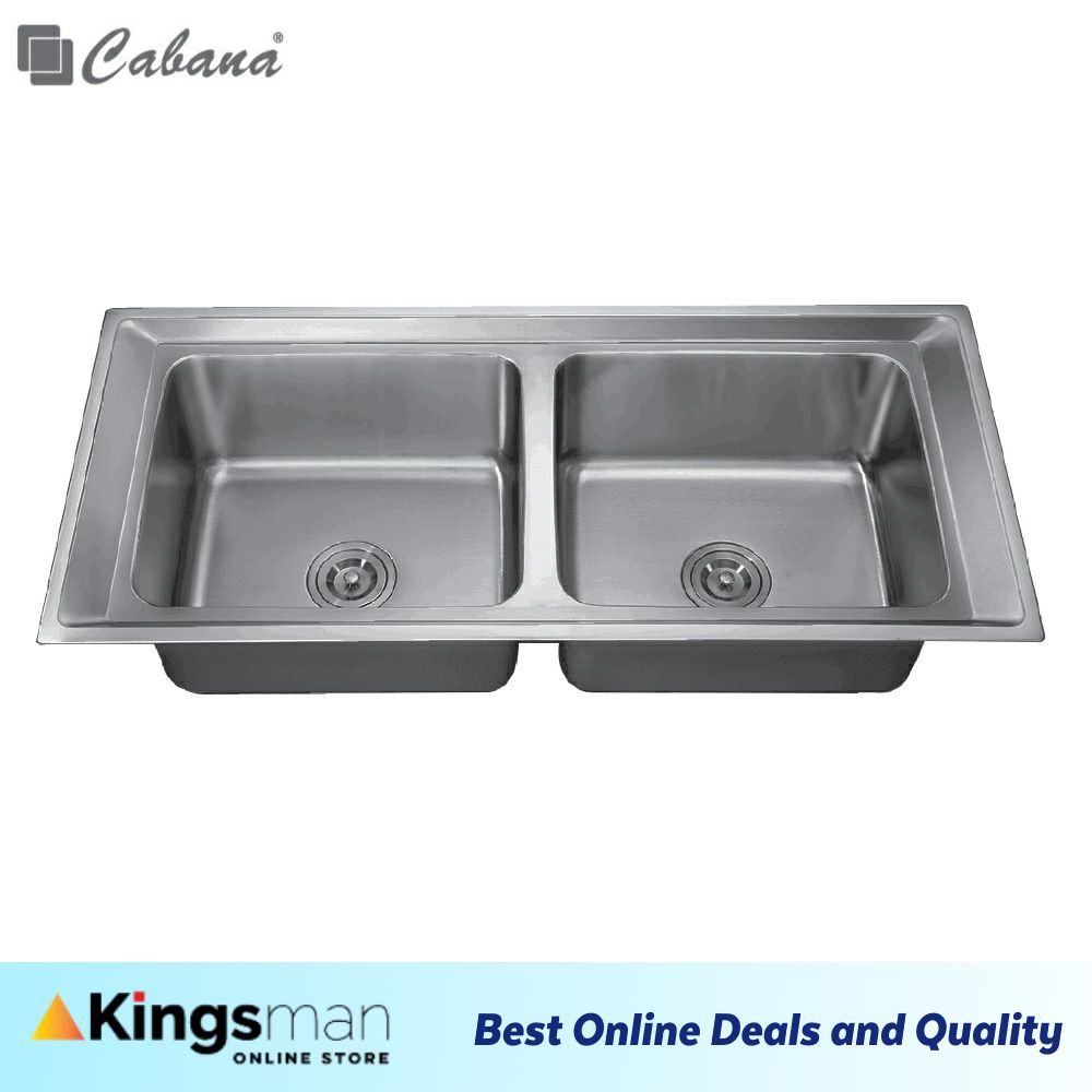 [Kingsman] Top mount Stainless Steel 304 Cabana Home Living Kitchen Sink Double Bowl Ready Stock - CKS343