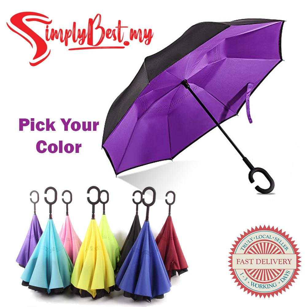 Windproof Inverted Reverse Upside Down Umbrella