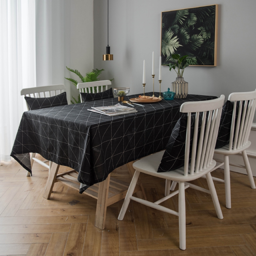 New Modern Tablecloth Table Waterproof Table Cloth Black White Geometric Dining Table Cloth Cover Mat Shopee Malaysia