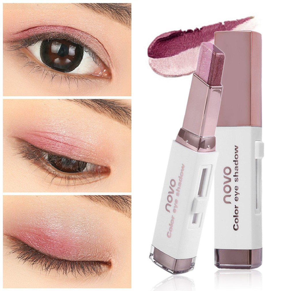 1pcs Waterproof Double Color Eyeshadow Stick Stereo Shimmer Color Eye Shadow Cream Pen Eye Makeup Palette Cosmetics Beauty Essentials