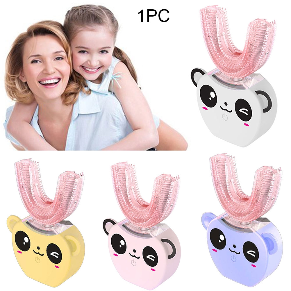 Toothbrushes Sonic Waterproof Powerful Electric Toothbrush Silicone Cute Children Anti Bacteria Hygienic Automatic U Shape Soft Portable Comfortable And Easy To Wear