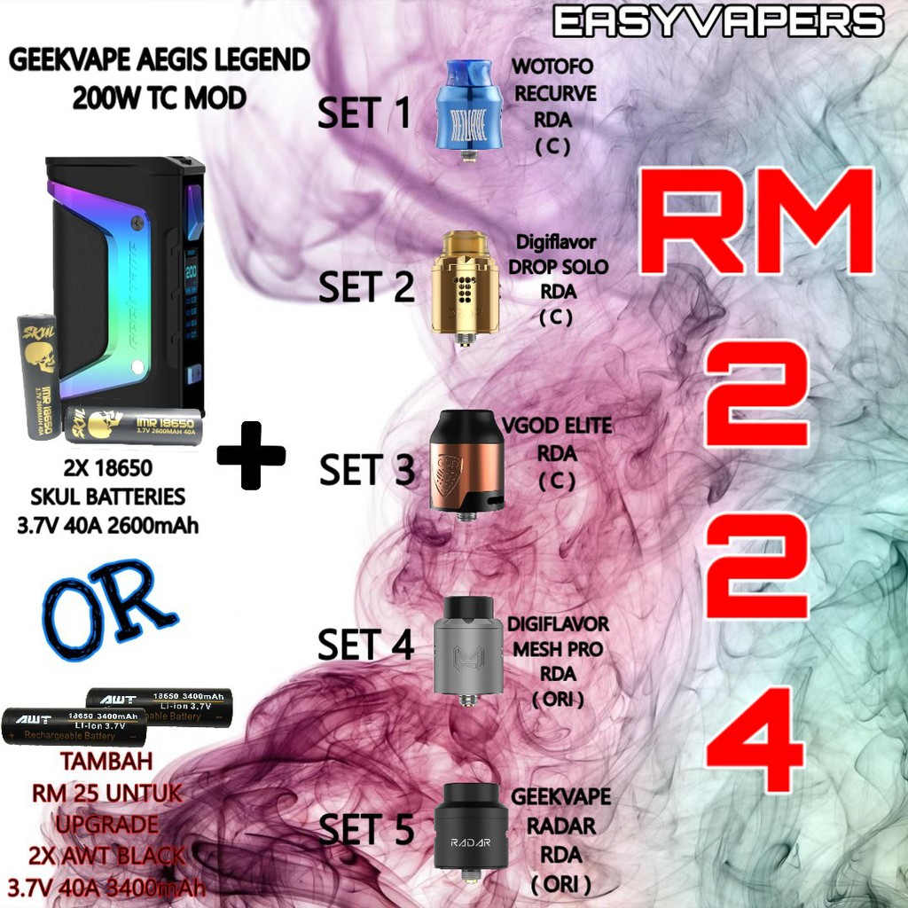 Tambah Battery Original Geekvape Aegis Legend 200w Tc Mod All Box Authentic Colours Shopee Malaysia