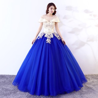 Xs 3xl Off Shoulder White Royal Blue Floral Puffy Fairy Tale